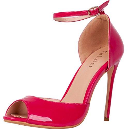 Zapatos morados Tacón de aguja formales Calaier para mujer szHwKLRxz