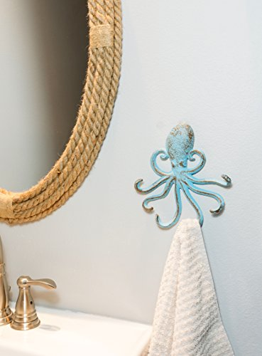 Stonebriar Cast Iron Octopus Decorative Wall Hook, Unique Ocean Design, Blue