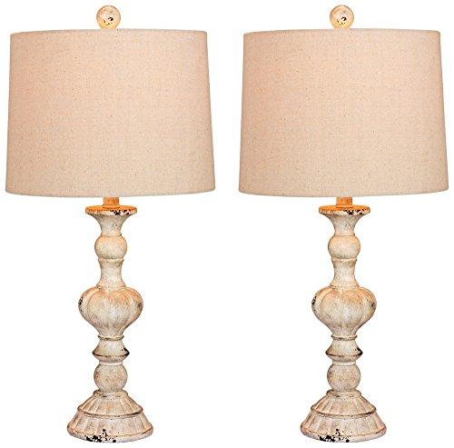 Soraya Cottage Antique White Candlestick Table Lamp Set of (Cottage Candlestick Table Lamp)