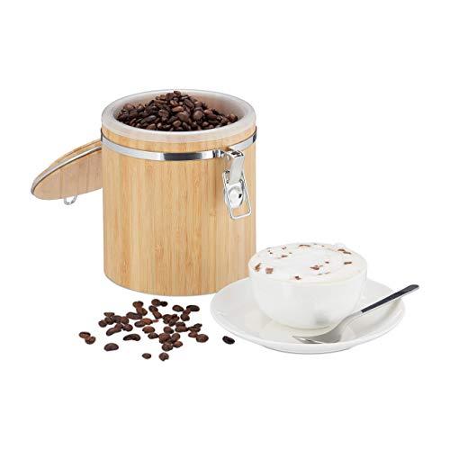 Relaxdays, Natur Kaffeedose Bambus, Vorratsbehälter mit Deckel, Innenbehälter, Bügelverschluss, aromadicht, HxD: 15x14cm