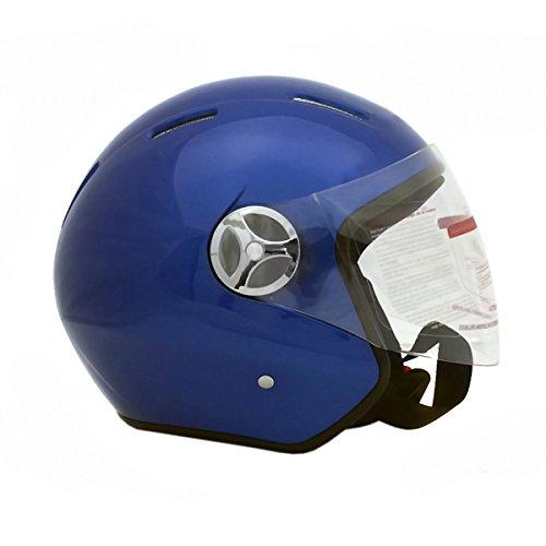 Motorcycle Scooter Open Face Helmet PILOT Flip Up Visor DOT - BLUE LARGE