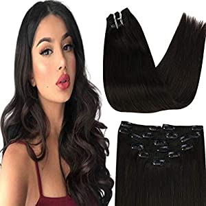 24 Inch Clip in Dark Brown Hair Extensions Long Thick Real Human Hair Extensions Clip in Double Weft Straight Hair for…