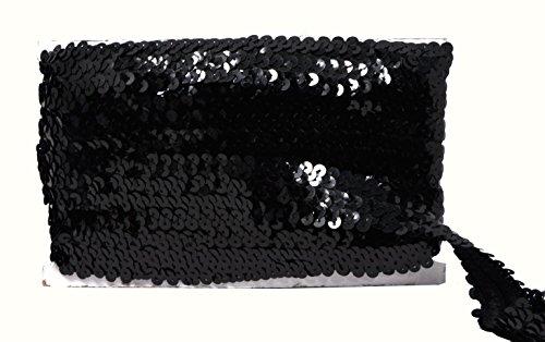 Stretch Sequins Fabric Trim - Mandala Crafts Elastic Sequin, Flat Glitter Stretch Bling Paillette Fabric Ribbon, Metallic Appliqué Trim Lace for Dress Embellish, Headband (1 inch, Black)