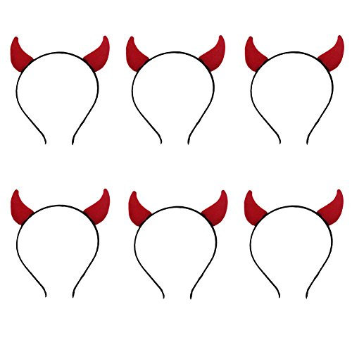 ANDES Halloween Red Devil Horns Headband for Costume Party Pack of 6 (H)]()