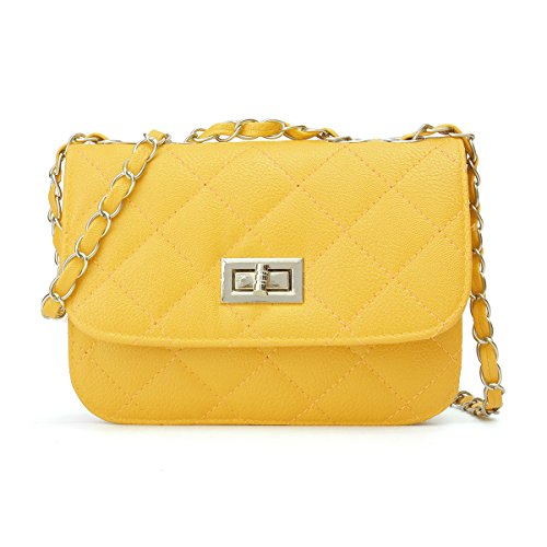 (Mini Crossbody Bag, OURBAG PU Leather Quilted Cross Body Shoulder Clutch Purse Evening Handbag with Chain Yellow)