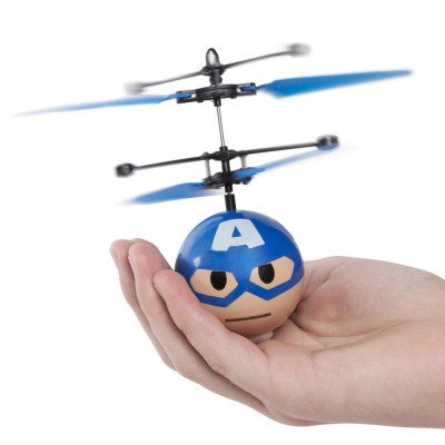 Marvel Heros Flying Copter - Fun Hand Control Levitating Heli Ball - Figure Flies up to 15 Feet for Indoor RC fun! (Captain America Ball)