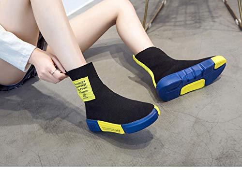 Informales Empalme Moda Perezosos y Zapatos Letras y Zapatos Voladores Calcetines Transpirable Deportivos Zapatos Señoras Moda Negro Zapatos amarillo Lucdespo Elástico 6nEwWfqgO