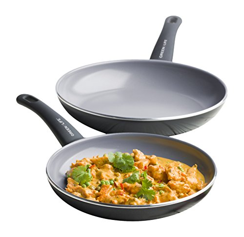 "GreenLife Soft Grip 2 Piece Ceramic Non-Stick 8"" and 11"" Open Pan Set, Grey - CW0005043"
