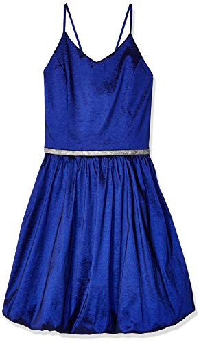 Amy Byer Girls' Big V-Neck Bubble Hem Party Dress, Navy, 7