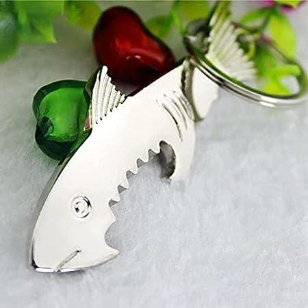 Abridor de botellas de tiburón, novedad única de acero inoxidable Botella de cerveza Sacacorchos, llavero multifuncional Regalos personalizados para hombres (Color: Plata) LNNDE ( Color : Silver )
