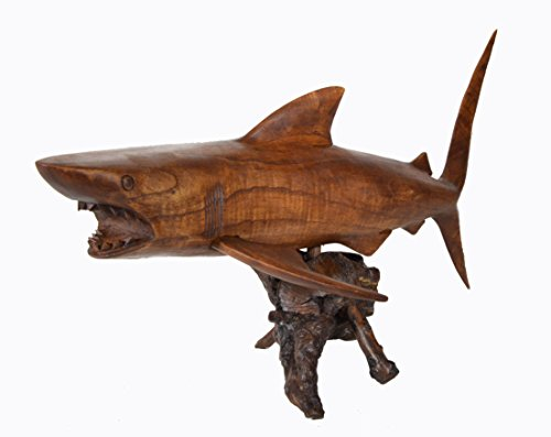 Hand Carved Sculpture - Hand Carved Teak Wood Ocean Shark Nautical Decor
