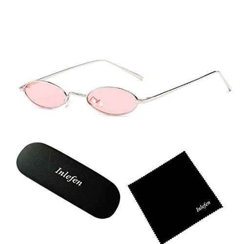 de sol Gafas Inlefen Gafas metal pequeñas Rosa de unisex de marco Plateado sol ovales Vintage colores esbeltas nqzw7f0qx