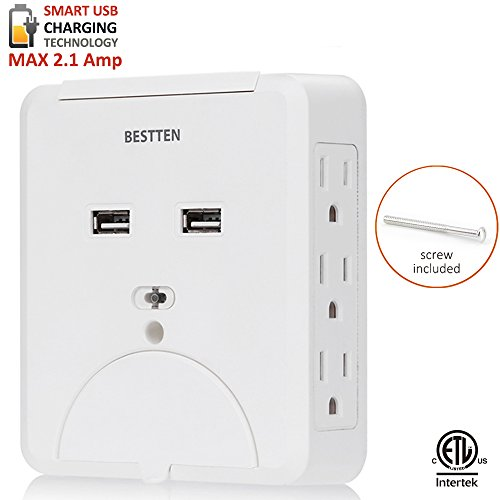 Plus 6 Outlet Surge Protector - BESTTEN 6 Side-Access Wall Tap Outlet with Dual USB Charging Ports (2.1A Shared) and 2 Cell Phone Holders, Wall Mountable 735 Joule Surge Protector, ETL Certified, White