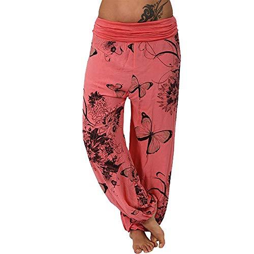 Clearance Sale! Wintialy Women Casual Print Pants Wide Leg Pants Loose Pocket Button Harem Pants