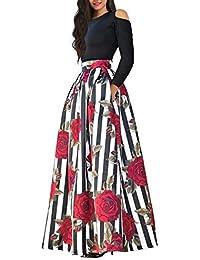cf26a0d79fbb5 Women's African Floral Print A Line Long Skirt Pockets Two Pieces Maxi Dress