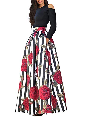 n Floral Print A Line Long Skirt Pockets Two Pieces Maxi Dress Medium Red ()