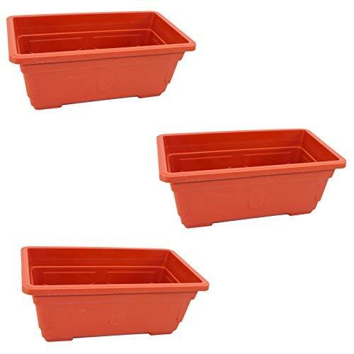 (Set of 3 Plastic Terra Cotta Color Rectangular Box Planters)