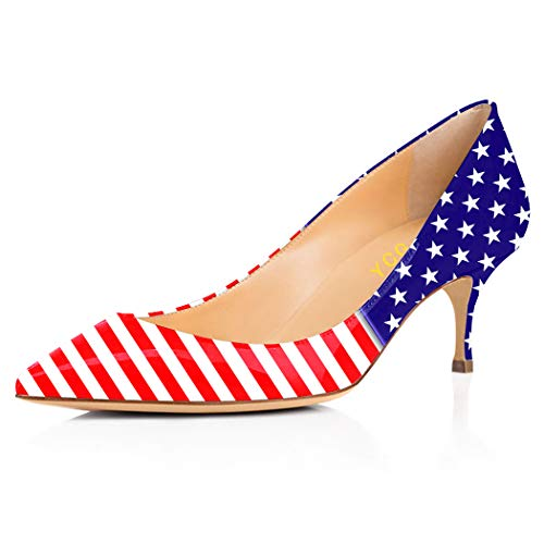 (YCG Women's Low Heels Pumps White American Flag Tattoo Printing Pleather Comfort Slip on Shoes US 13)