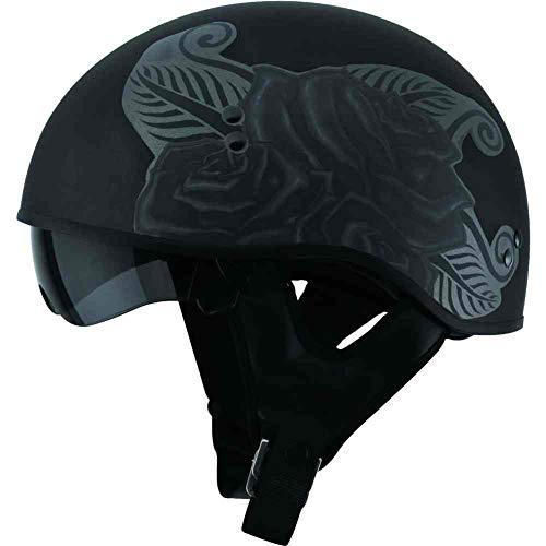 (GMAX GM-65 Devotion Naked Half Helmet Adult Street Motorcycle Helmet - Matte Black/Large )