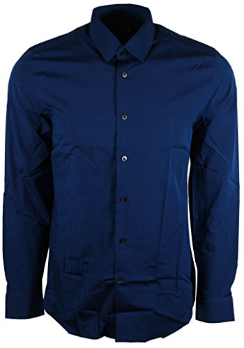 Express Men's 1MX Modern Fit Dress Shirt (X-Large, Navy) -