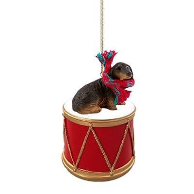 Animal-Den-Little-Drummer-Longhaired-Black-Dachshund-Christmas-Ornament-Hand-Painted-Delightful