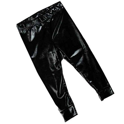 Gabardine Coverall (Elevin(TM)Baby Infant Fashion Full Length Faux Leather Gilding Skinny Leggings Pants (18M, Black))