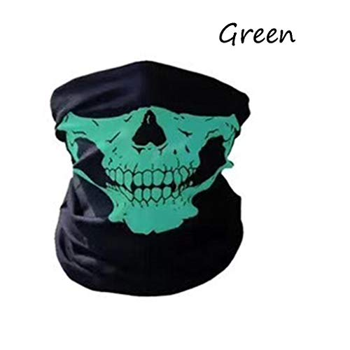 Halloween Festive Skull Mask Half Face For Out Riding Motorcycle Rider Comfort Mask Neck Scarf Black Multi Color (Color : Green) -