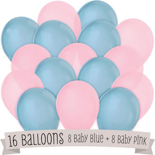 16 Pack of Latex Balloons (8 Blue & 8 (Blue And Pink Balloons)