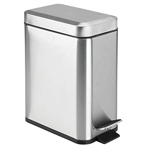 (mDesign 5 Liter Rectangular Small Metal Step Trash Can Wastebasket, Garbage Container Bin, Bathroom, Powder Room, Bedroom, Kitchen, Craft Room, Office - Removable Liner Bucket, Brushed Stainless)
