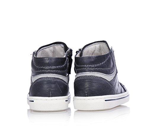 NERO GIARDINI - Blaue Sneakers mit Schnürsenkel, aus Leder, seitlich ein Reißverschluss, Jungen