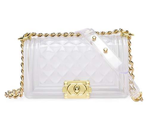(Women Transparent Jelly Messenger Bag Lady Gradient Candy Color Shoulder Purses Mini Crossbody Bag with Chain (White,25x15x8CM))