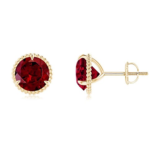 Rope Framed Claw-Set Garnet Martini Stud Earrings in 14K Yellow Gold (6mm Garnet)