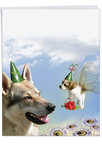 Cute Puppy Love Happy Birthday Greeting Card 8.5 x 11 Inch - Jumbo Sized Adorable K9 Dog Lovers Congratulations Cards - Birthday Celebration for Wife, Husband, Couple w/ Envelope J6546DBDG