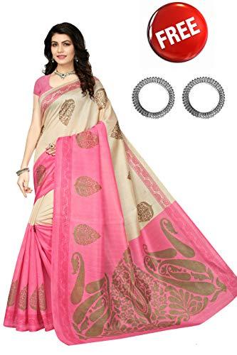 (Jaanvi fashion Women's Bhagaluri Silk Paisley Printed Saree (Sai_pallavi_Pink))