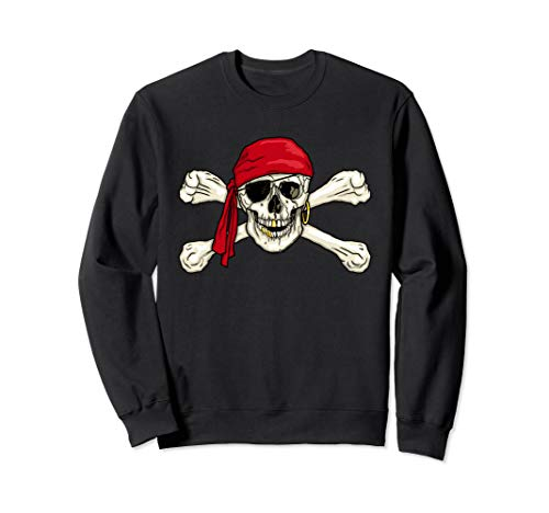 Jolly Roger Skull & Crossbones Eye Patch Pirate Flag Sweatshirt