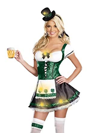 Dreamgirl Women's Lady Luck Costume, Green, Extra Large