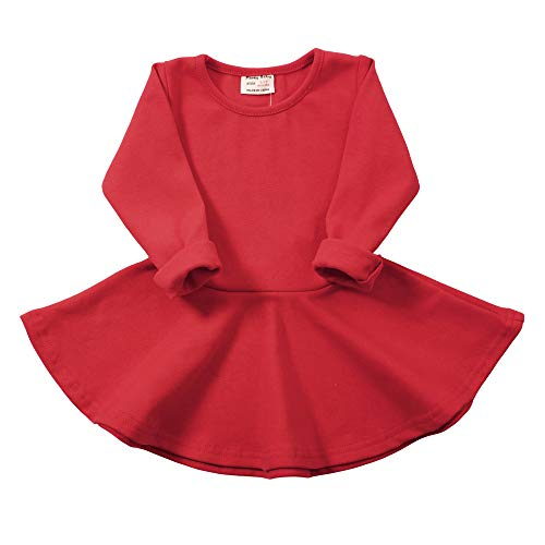 - Daiermeng Baby Girls Dress Short Sleeves Cotton Casual Skirt Ruffled Pullover 6-48m (3-4Year(4T), Red 1)