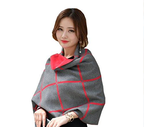 Tuopuda invierno mujer tartán de gris de bufanda para suaves bufanda YqrHzZxY