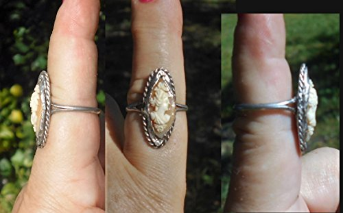 1 Ring, Vintage Sterling Silver Hand Carved CAMEO Size 8.5 Unmarked Silver Twisted Rope, Equisite Small Marquise Carving w/ Flowers Cameo. . One of a Kind!