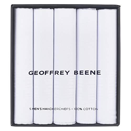 Geoffrey Beene 5 Pack Men's Handkerchief Gift Set (White - 5 pk) ()