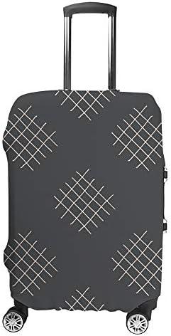 スーツケースカバー 黒 交差線 伸縮素材 キャリーバッグ お荷物カバ 保護 傷や汚れから守る ジッパー 水洗える 旅行 出張 S/M/L/XLサイズ