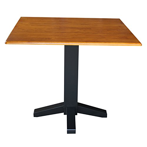 - International Concepts T57-36SDP 36-Inch Square Dual Drop Leaf Ped Table, Black/Cherry