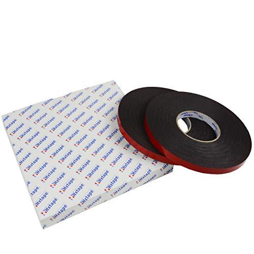 Hxtape Double Sided PE Foam Mounting Tape,Black,Removable Weatherproof Tough Bonding Strength Foam Tape (1/16''Thick-1/2''-100ft) by Hxtape (Image #1)