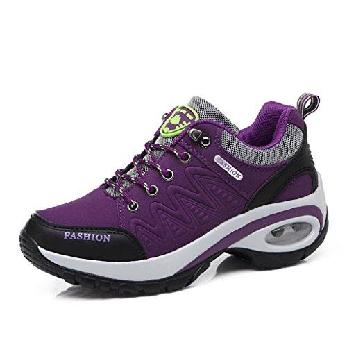 T-Gold Air Turnschuhe Damen Laufschuhe Bequeme Low-Top Sportschuhe Erhöhung Höhe Einlegesohle Luftpolster Sneaker Lila