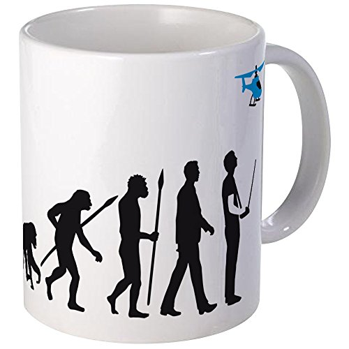 CafePress - Evolution Of Man With Model Helicopter Tasse - Unique Coffee Mug, Coffee Cup