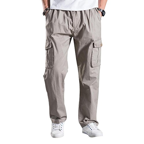 (Mesinsefra Men's Full Elastic Waist Cargo Pants Light Grey Lable XL-US 34)