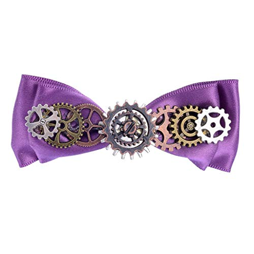 (Steampunk Gear Violet Ribbon Cute Bowknot Hair Barrettes Duckbill Clip Girls)