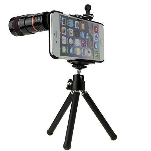 TaiChuDa® iPhone 6, 6 in 1, obiettivo grandangolo/Macro 2 in 1, obiettivo Fisheye 8 x di teleobiettivo, treppiede, supporto per telefono con parte posteriore, per iPhone 6 11,94 (4,7) cm, colore: ner