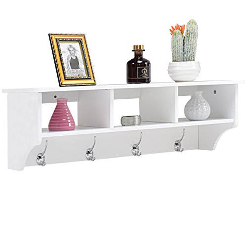 Giantex Hanging Shelf With Hooks Wall Mount Cubby Organizer With 4 Dual Hooks And Storage For Entryway  Hallway  Diningroom Furniture  White