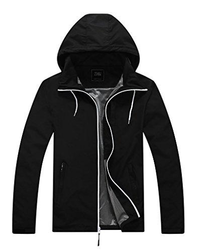 Summer Weight (ZSHOW Men's Summer Lightweight Windbreaker Packable Windproof Jacket With Folding Hood(Black,Small))